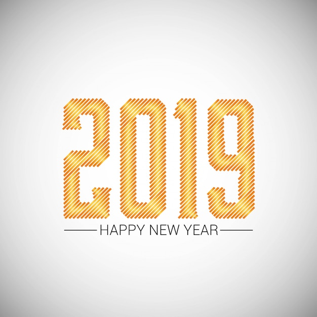 Conception de bonne année 2019 avec un fond blanc Vecteur gratuit