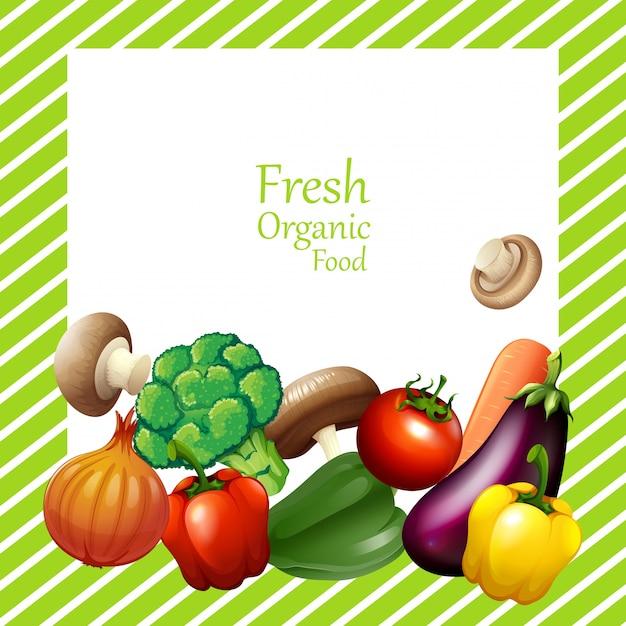 Conception de bordure avec des légumes frais Vecteur gratuit