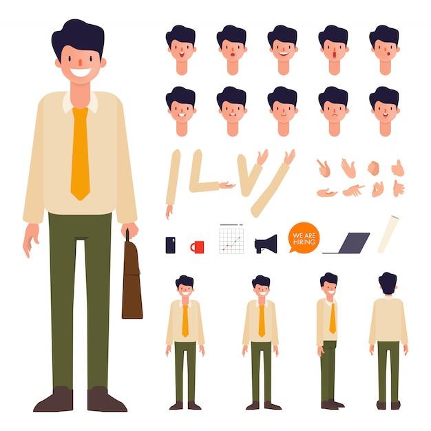 Conception de bouche d'animation création personnage homme d'affaires. Vecteur Premium
