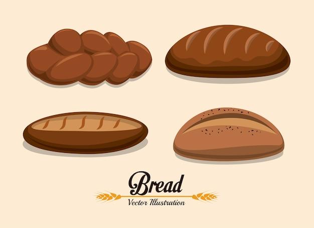 Conception de la boulangerie au cours de l'illustration vectorielle sur fond beige Vecteur Premium