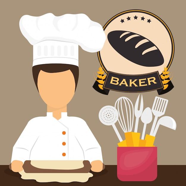 Conception de la boulangerie Vecteur Premium