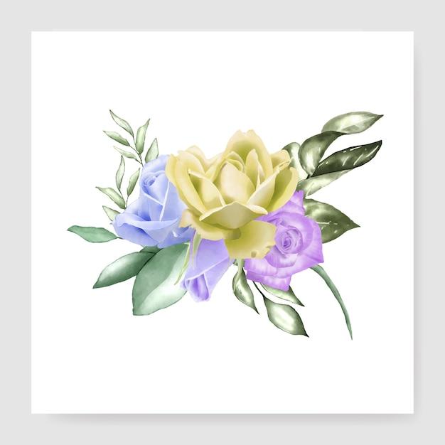 Conception de bouquet aquarelle Vecteur Premium