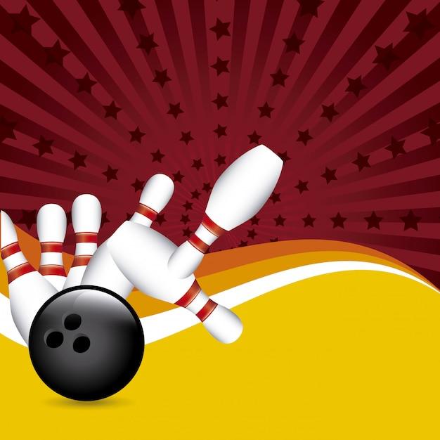 Conception de bowling au cours de l'illustration vectorielle fond grunge Vecteur Premium