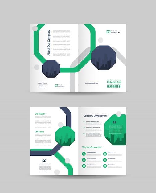 Conception de la brochure en deux volets Vecteur Premium