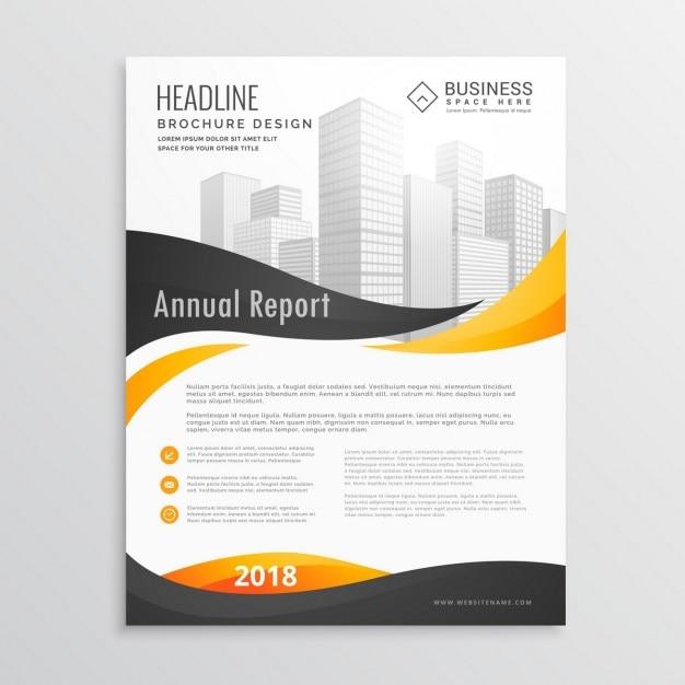 Conception brochure flyer template moderne avec des formes ondulées jaunes et noires Vecteur gratuit