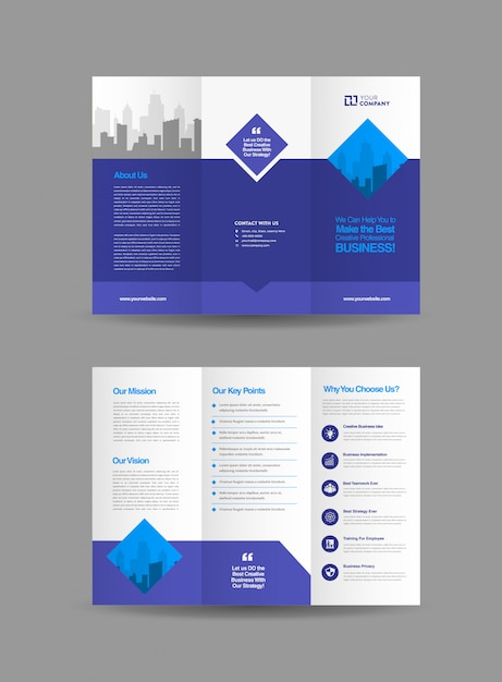 Conception de brochure à trois volets Vecteur Premium