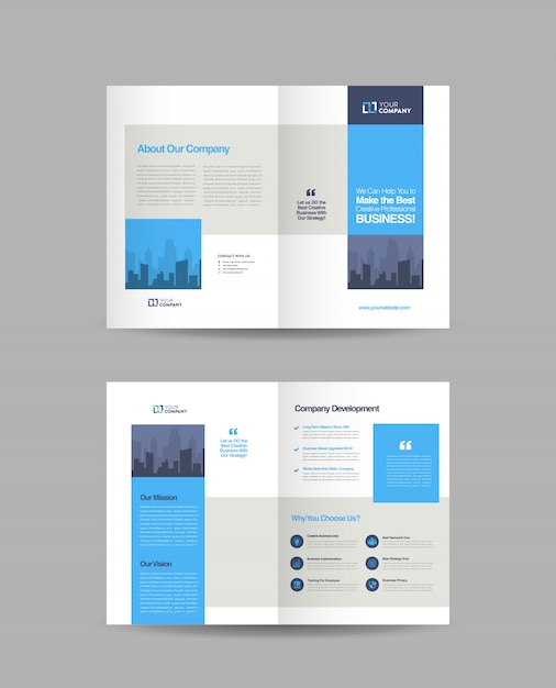 Conception de brochures d'entreprise à deux volets Vecteur Premium