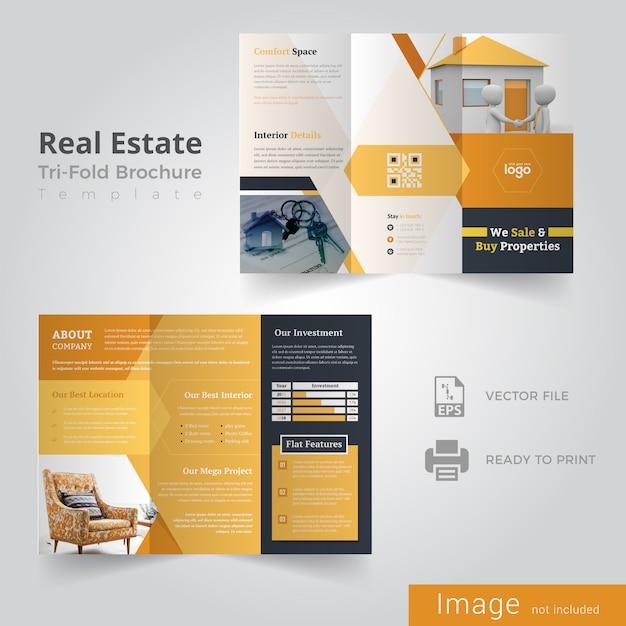 Conception de brochures à trois volets pour l'immobilier Vecteur Premium