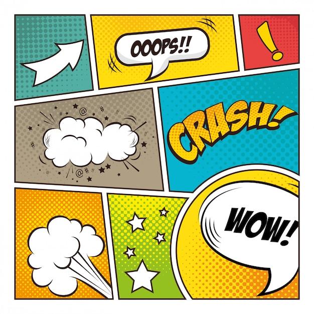 Conception de bulles de bande dessinée pop art Vecteur Premium