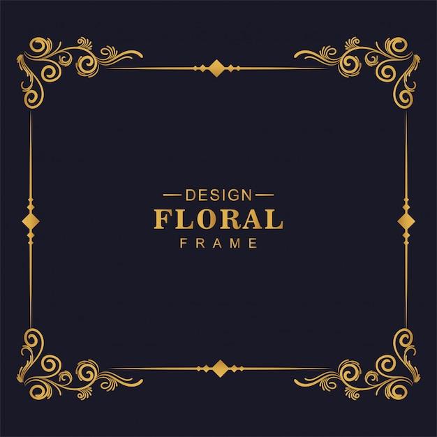 Conception De Cadre D'angle Floral Artistique Décoratif Vecteur gratuit