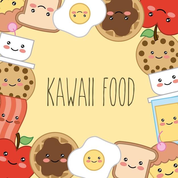 Conception De Cadre De Carte De Dessin Animé De Nourriture Kawaii