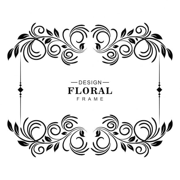 Conception De Cadre Floral Artistique Décoratif Vecteur gratuit
