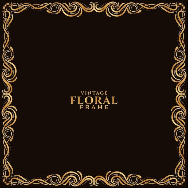 Conception De Cadre Floral Doré Beau Fond Vecteur gratuit