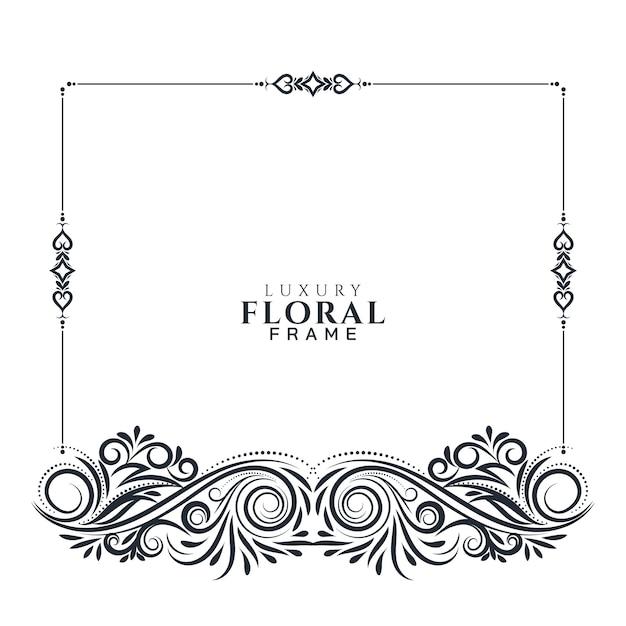 Conception De Cadre Floral élégant Belle Vecteur gratuit
