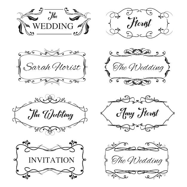 Conception de cadre ornemental vintage logo féminin pour invitation de mariage avec détail floral. Vecteur Premium