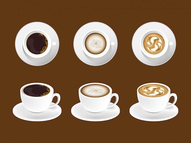 Conception de café latte d'art. Vecteur Premium