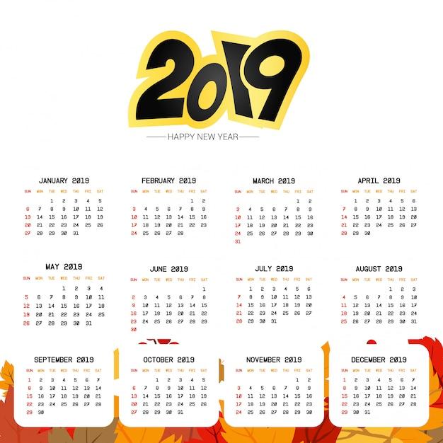 Conception de calendrier 2019 avec vecteur de fond clair Vecteur gratuit