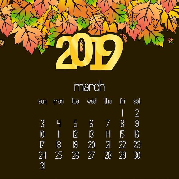 Conception de calendrier 2019 avec vecteur fond drak brun Vecteur gratuit