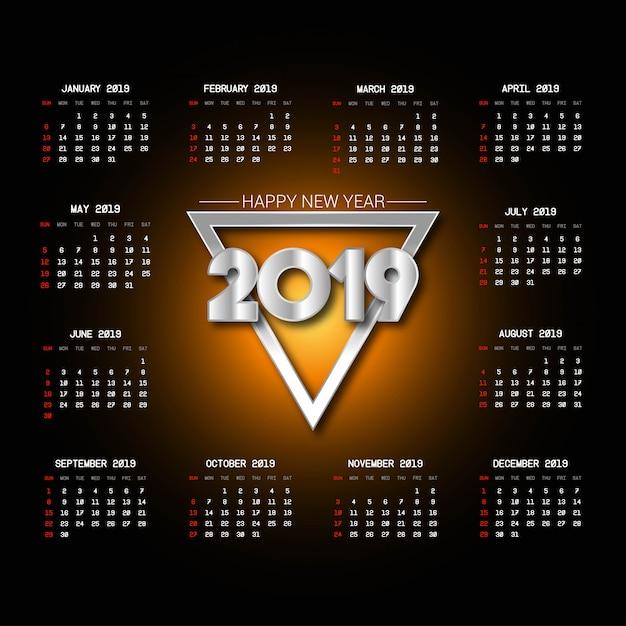 Conception de calendrier 2019 avec vecteur de fond noir Vecteur Premium