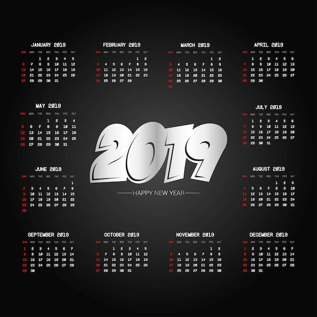 Conception de calendrier 2019 avec vecteur de fond noir Vecteur gratuit
