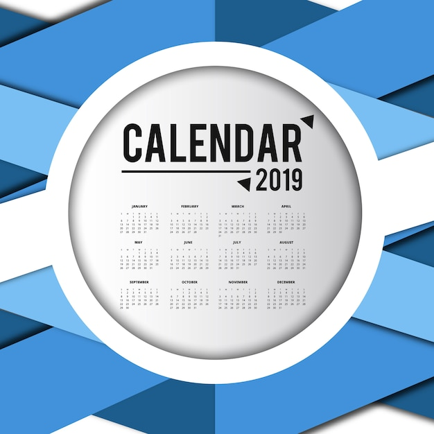 Conception de calendrier coloré vecteur 2019 Vecteur gratuit