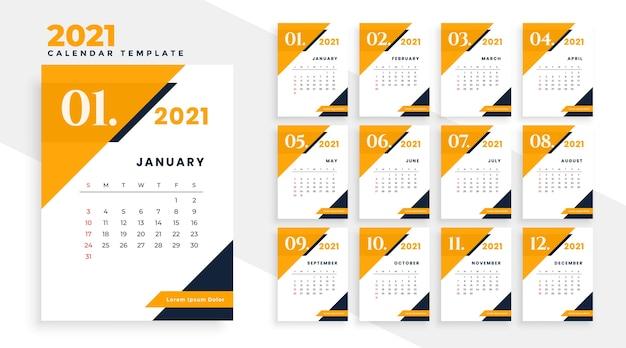 Conception De Calendrier Moderne De L'année 2021 Dans Un Style Géométrique Vecteur gratuit