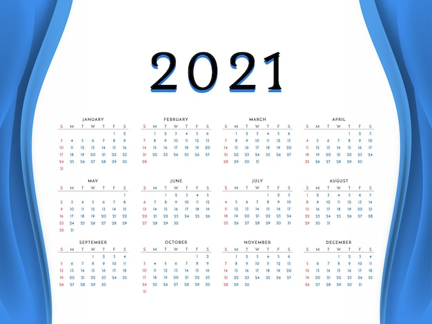 Conception De Calendrier De Nouvel An Style Vague Bleue 2021 Vecteur gratuit