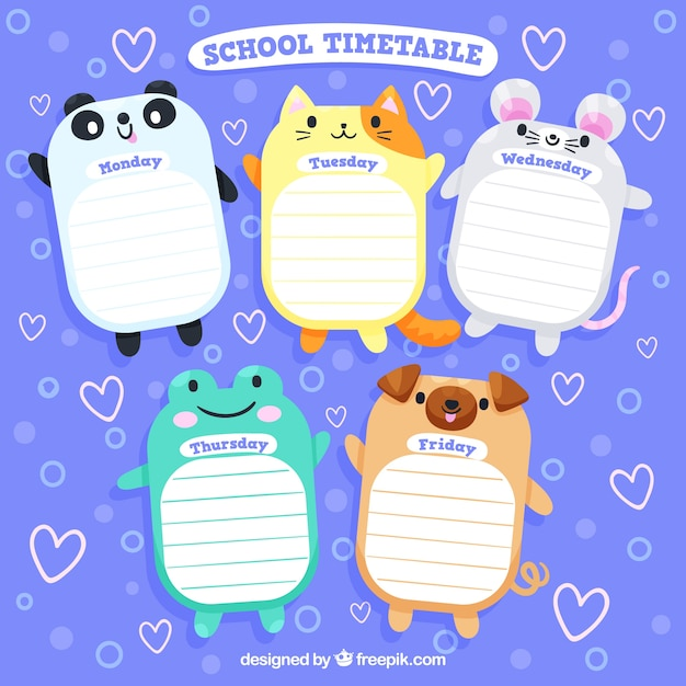 Conception de calendrier scolaire avec des animaux marrants Vecteur gratuit