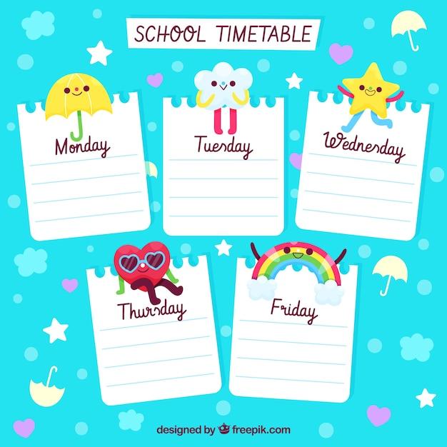 Conception de calendrier scolaire mignon Vecteur gratuit