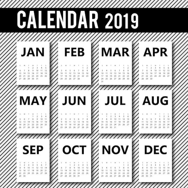 Conception de calendrier de vecteur 2019 Vecteur gratuit