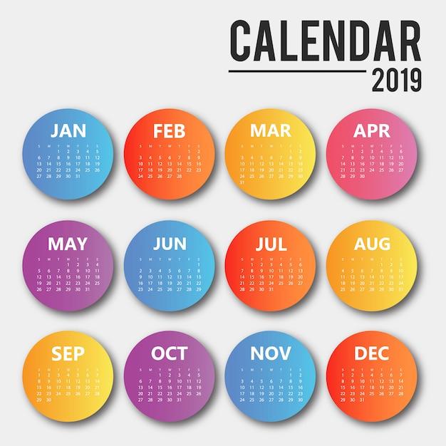 Conception de calendrier de vecteur coloré 2019 Vecteur gratuit