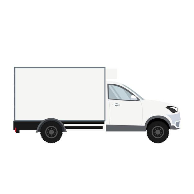 Conception de camion avec chambre de réfrigération pour la livraison Vecteur Premium