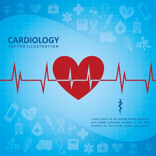 Conception de cardiologie au cours de l'illustration vectorielle fond bleu Vecteur Premium