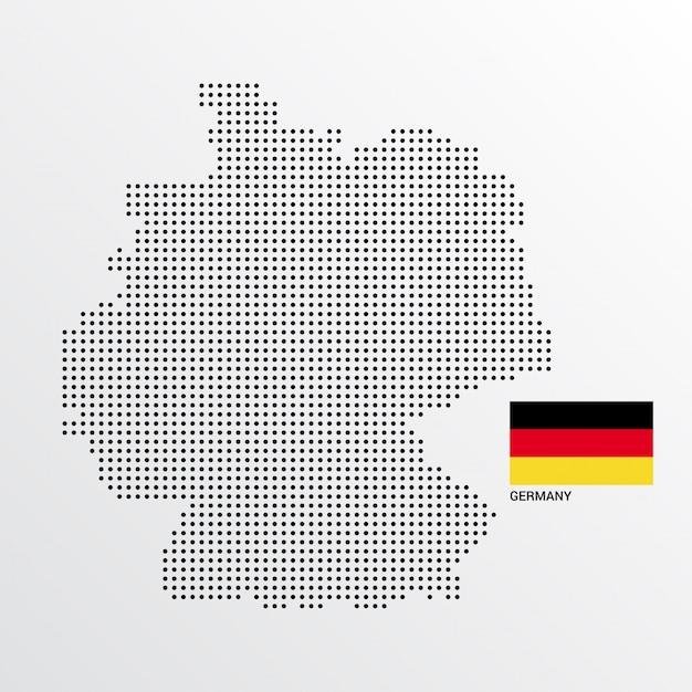 Conception de carte de l'allemagne avec le drapeau et le vecteur de fond clair Vecteur gratuit