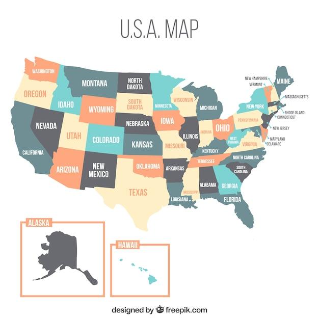 Conception De La Carte Américaine Avec Des Couleurs Pastel Vecteur gratuit