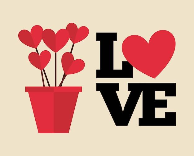 Conception de carte d'amour Vecteur Premium