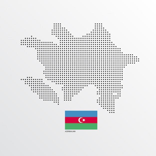 Conception de carte d'azerbaïdjan avec drapeau et vecteur de fond clair Vecteur gratuit