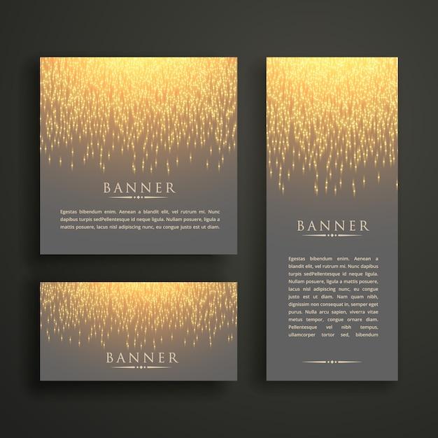 Conception de carte de bannière lumineuse sparkle de luxe dans différentes tailles Vecteur gratuit