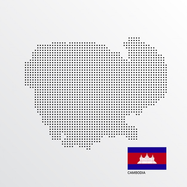 Conception De Carte Cambodge Avec Drapeau Et Vecteur De Fond Clair Vecteur gratuit