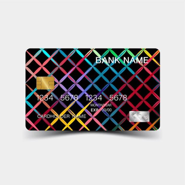 Conception De Carte De Crédit Géométrique Colorée. Vecteur Premium
