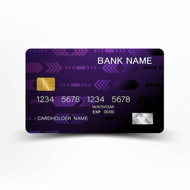 Conception De Carte De Crédit Moderne De Couleur Violette Et Noire. Vecteur Premium