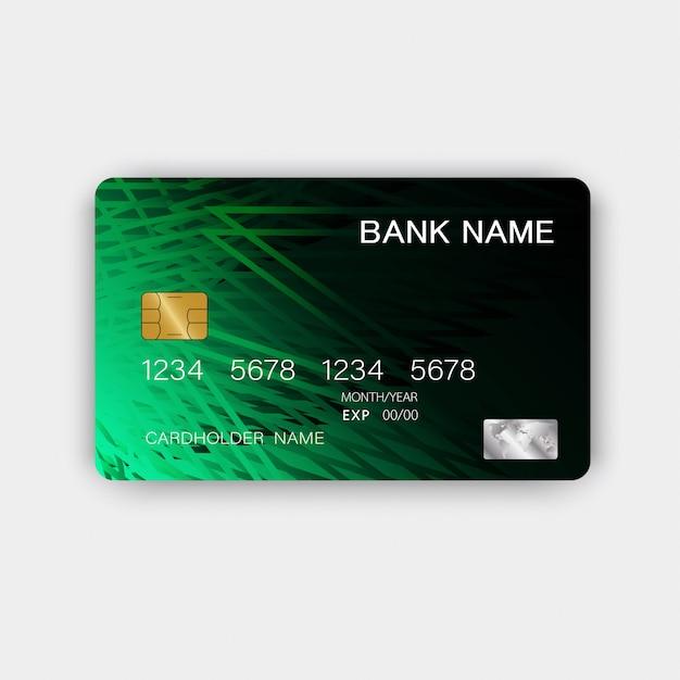 Conception de carte de crédit verte. avec l'inspiration de l'abstrait. Vecteur Premium