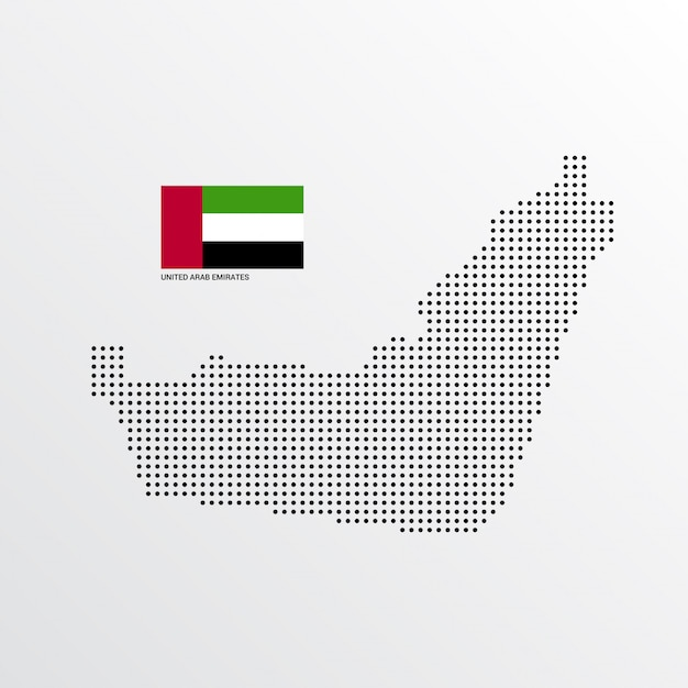 Conception de carte des émirats arabes unis Vecteur gratuit