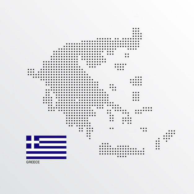 Conception de carte de grèce avec drapeau et vecteur de fond clair Vecteur gratuit