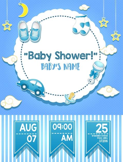 Conception de carte d'invitation de douche de bébé pour garçon Vecteur Premium