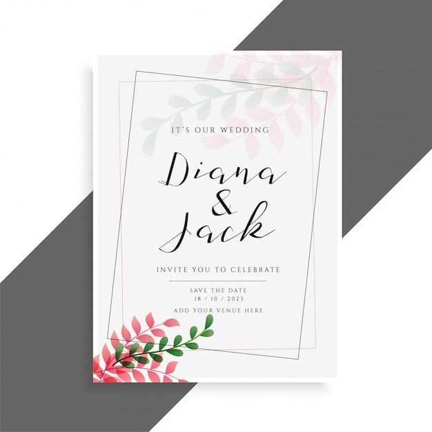 Conception de carte de mariage élégante avec des feuilles mignonnes Vecteur gratuit