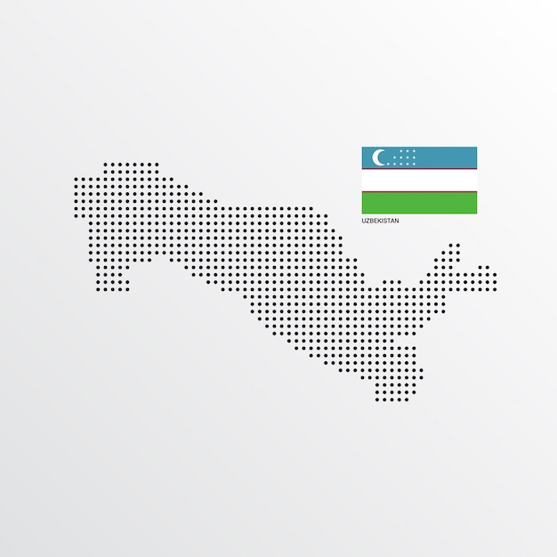 Conception de carte ouzbékistan avec drapeau et vecteur de fond clair Vecteur gratuit