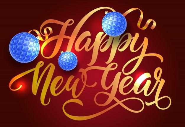 Conception de carte postale bonne année. boules bleues Vecteur gratuit