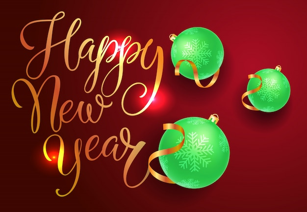 Conception de carte postale bonne année. boules vertes Vecteur gratuit