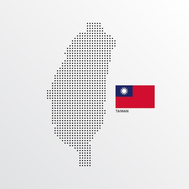 Conception de carte de taiwan avec drapeau et vecteur de fond clair Vecteur gratuit